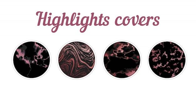 Podświetl duży zestaw okładek, minimalistyczną różową marmurową teksturę tła