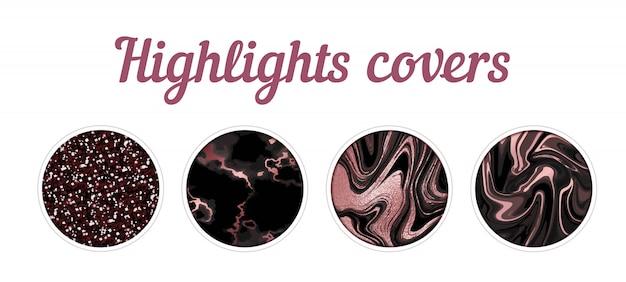 Podświetl duży zestaw okładek, minimalistyczny różowy marmur tekstura tło