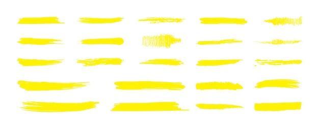 Podświetl żółtą linię znacznika. kolor markera pociągnięcia pędzlem, ręcznie rysowane podkreślenie