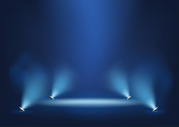Podświetlana scena z jasnymi światłami szablon do prezentacji