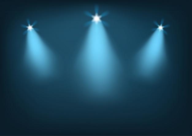 Podświetlana scena z jasnymi światłami