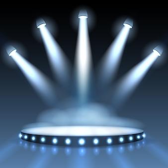 Podświetlane podium z reflektorami do prezentacji. pokaz z pustym reflektorem, sceną lub studiem scenicznym.