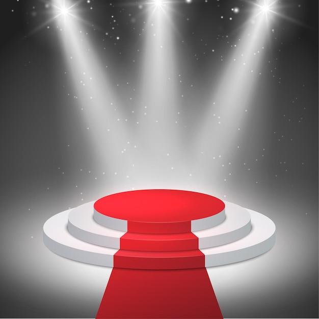 Podświetlane tło podium ze sceną cokołową