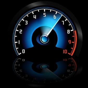 Podświetlany prędkościomierz samochodowy na desce rozdzielczej na odblaskowym czarnym tle