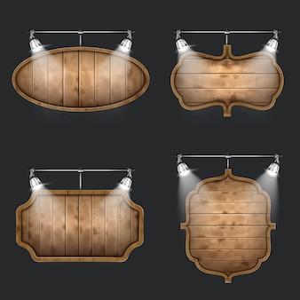 Podświetlany zestaw drewnianych szyldów.