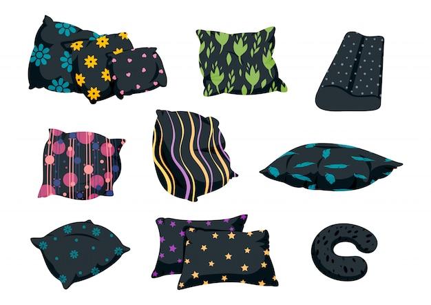 Poduszka czarny zestaw z ozdobnym wzorem, płaski styl kreskówek. tekstylia domowe do domu. ciemna poduszka podróżna, ortopedyczna lub pufowa, sofa