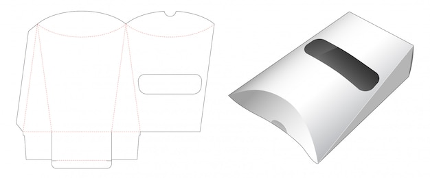 Poduszka do pakowania przekąsek z szablonem wycinanym w oknie