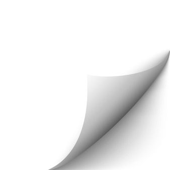 Podwinięta strona z efektem kręconego narożnika pusta biała naklejka z krawędziami