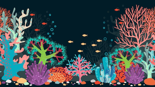 Podwodna scena. ocean i koralowce, rafa i woda, ryby i przyroda, zwierzęta i bąbelki