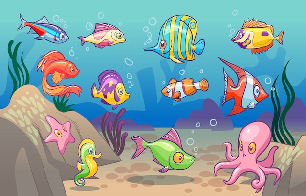 Podwodna scena. śliczne morskie ryby tropikalne ocean podwodne zwierzęta. podmorski dno z koralowymi wodorostami dla dzieci