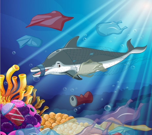 Podwodna scena z delfinem i plastikowymi torbami