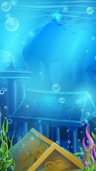 Podwodna scena z ruinami atlantydy na tle gry