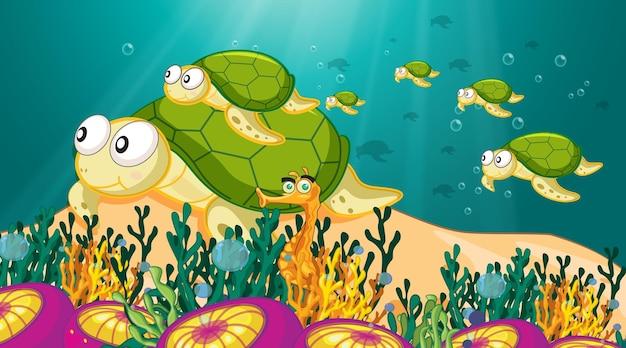 Podwodna scena ze zwierzętami morskimi i tropikalną rafą koralową