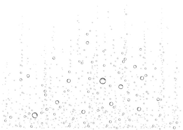 Podwodne bąbelki powietrza, wody lub tlenu na białym tle. napój musujący. musujące błyszczy w morzu, akwarium. szampan. napoje gazowane. tekstura wektor podmorski.