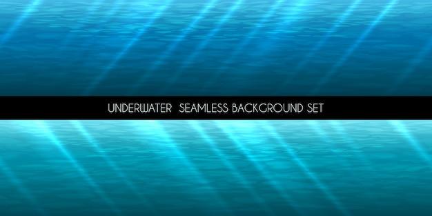 Podwodne bezszwowe tło. woda morska błękitna, głęboka wodna,