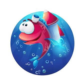 Podwodne kreskówka śmieszne ryby z rakietą.