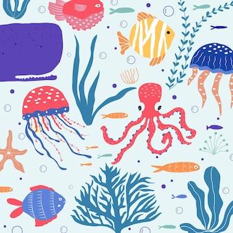 Podwodne stworzenia: ryby, meduzy, ośmiornice, błazenki, rośliny morskie i koralowce, zestaw ze zwierzętami morskimi do tkanin, tekstyliów, tapet, wystroju przedszkola, nadruków, tła dziecięcego. wektor