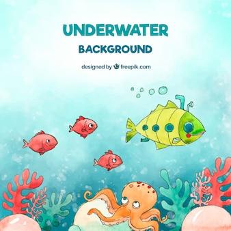 Podwodne tło z karykaturami zwierząt wodnych