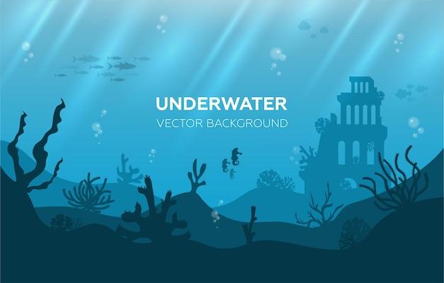 Podwodne tło z różnymi widokami na morze podwodna scena słodkie ryby morskie ocean pod wodą