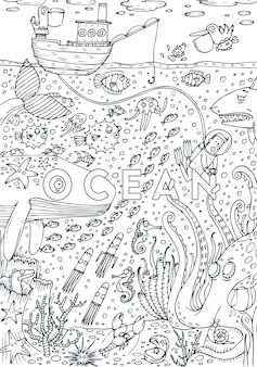 Podwodne życie morskie rysowane w stylu sztuki linii. projekt strony książki do kolorowania. ilustracji wektorowych