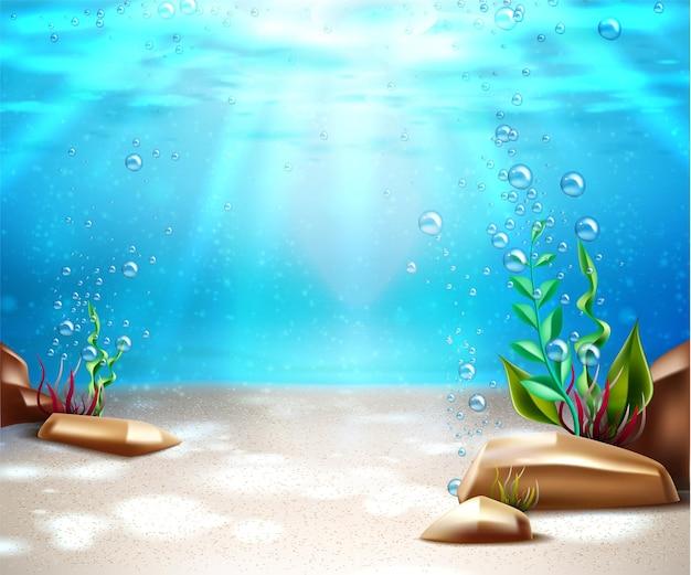 Podwodne życie na dnie z błękitną wodą, trawą morską, bąbelkami tlenu