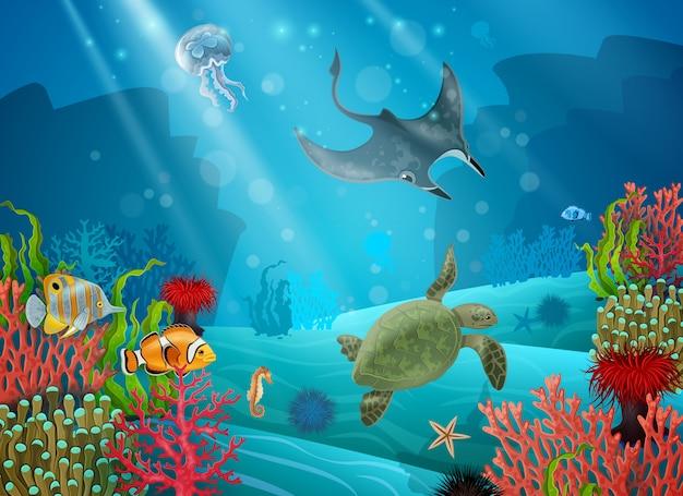 Podwodny krajobraz kreskówki