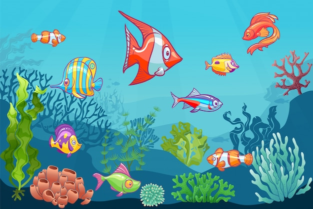 Podwodny pejzaż morski. kreskówka morze dzikie życie na tle dolnej. zestaw dla dzieci wodorostów koralowych koralowców