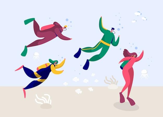 Podwodny płetwonurek mężczyzna i kobieta, nurkowanie w morzu. people deep dive z okularami płetwowymi wyposażonymi w sprzęt i pianką tlenową. letni snorkeling z rybami. ilustracja wektorowa płaski kreskówka
