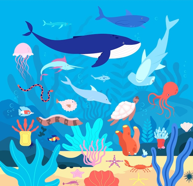 Podwodny. śliczne zwierzęta podmorskie, kreskówka morska przyroda.