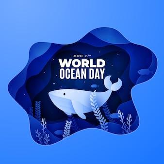 Podwodny stwór papierowy stylowy światowy dzień oceanu