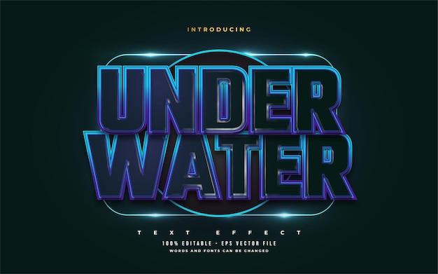 Podwodny styl tekstu w kolorze ciemnoniebieskim z wytłoczonym efektem. edytowalny efekt stylu tekstu