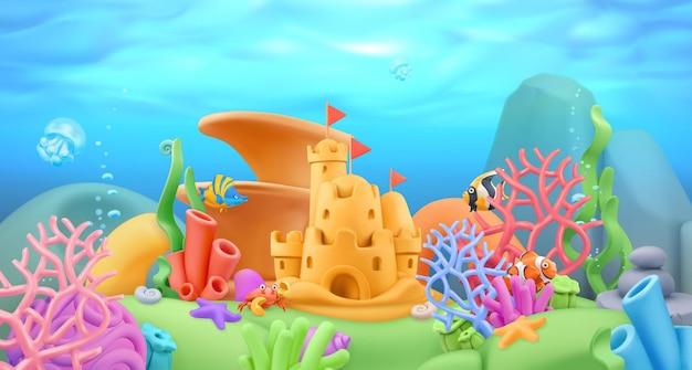 Podwodny świat krajobraz w 3d