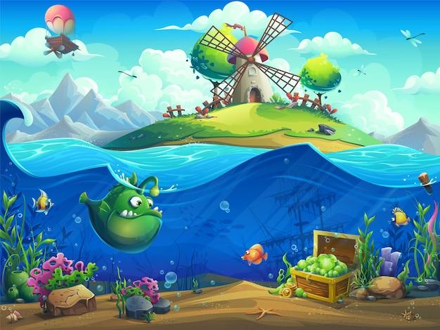Podwodny świat z młynem na ilustracji wyspy