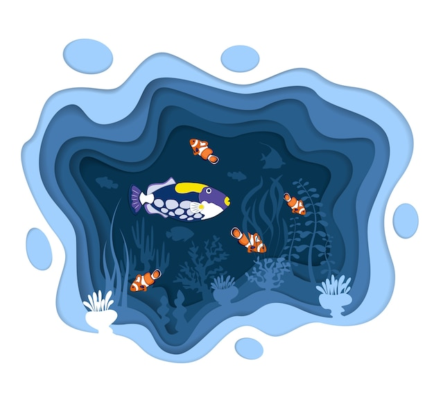 Podwodny świat z rybami rafy koralowej w stylu wycinanym z papieru. egzotyczne akwarium. głębokie życie morskie, biznes nurkowy. ocean podwodna przyroda. karaibska fauna wodna koralowa