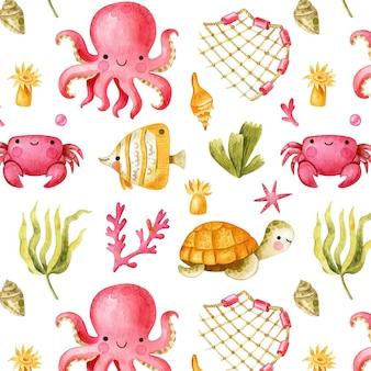Podwodny wzór z uroczą ośmiornicą krabem rybnym i żółwiem kreskówka wzór oceanu