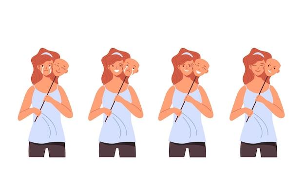 Podwójna maska z różnymi emocjami zestaw płaskiej konstrukcji ilustracji