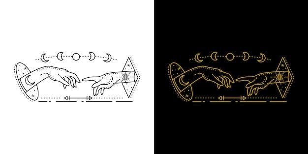 Podwójna ręka z geometrycznym wzorem tatuażu w fazie księżyca