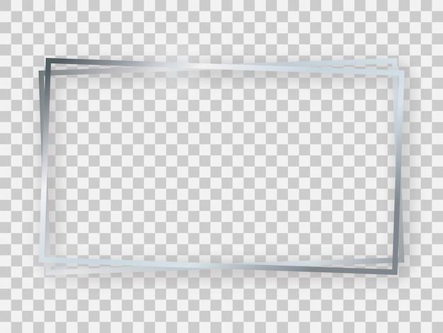 Podwójna srebrna błyszcząca prostokątna ramka 16x9 ze świecącymi efektami i cieniami na przezroczystym tle. ilustracja wektorowa