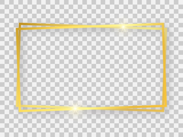 Podwójna złota błyszcząca prostokątna ramka 16x9 ze świecącymi efektami i cieniami na przezroczystym tle. ilustracja wektorowa