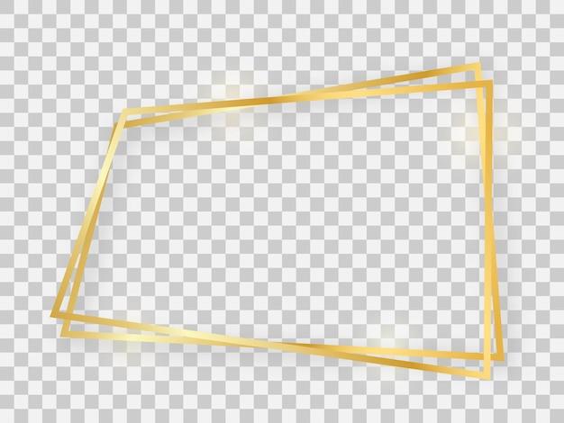 Podwójna złota błyszcząca ramka trapezowa ze świecącymi efektami i cieniami na przezroczystym tle. ilustracja wektorowa