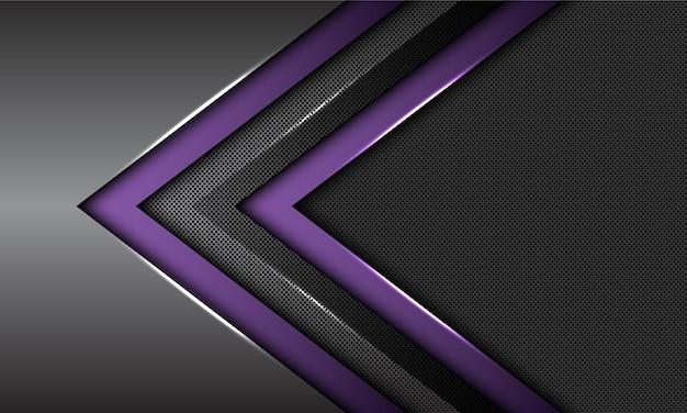 Podwójne fioletowe ciemnoszare metalowe strzałka kierunku koło siatki futurystyczne tło.