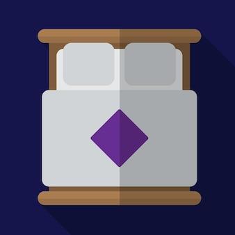 Podwójne łóżko płaskie ikona ilustracja na białym tle wektor symbol znak
