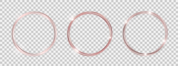 Podwójne okrągłe błyszczące ramki ze świecącymi efektami. zestaw trzech różowego złota podwójne okrągłe ramki z cieniami na przezroczystym tle. ilustracja wektorowa
