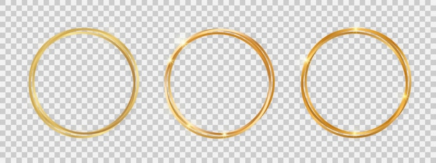 Podwójne okrągłe błyszczące ramki ze świecącymi efektami. zestaw trzech złotych podwójnych okrągłych ramek z cieniami na przezroczystym tle. ilustracja wektorowa
