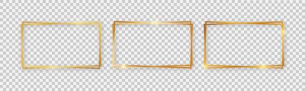 Podwójne prostokątne błyszczące ramki ze świecącymi efektami. zestaw trzech złotych podwójnych prostokątnych ramek z cieniami na przezroczystym tle. ilustracja wektorowa
