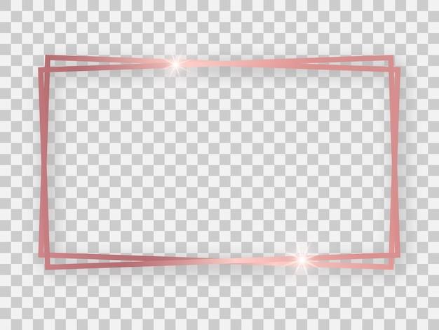 Podwójne różowe złoto błyszcząca prostokątna ramka 16x9 ze świecącymi efektami i cieniami na przezroczystym tle. ilustracja wektorowa