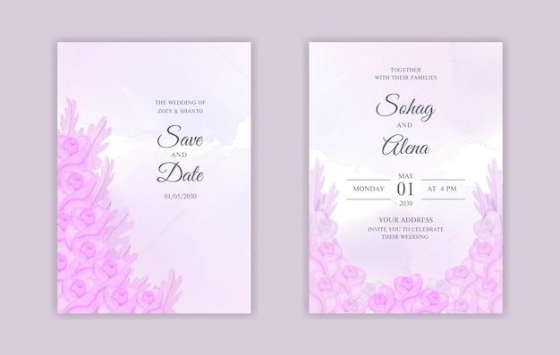 Podwójne strony akwareli kwiatowy szablon karty pielenia z miękkimi różowymi różami i liśćmi