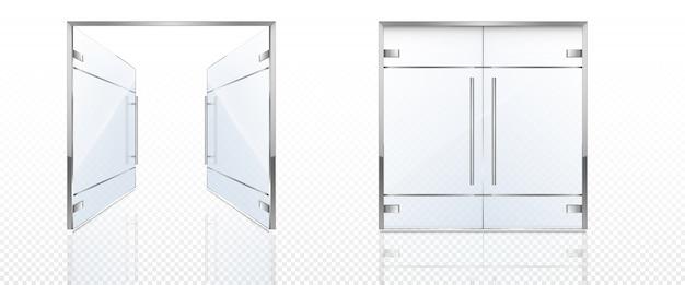 Podwójne szklane drzwi z metalową ramą i uchwytami.