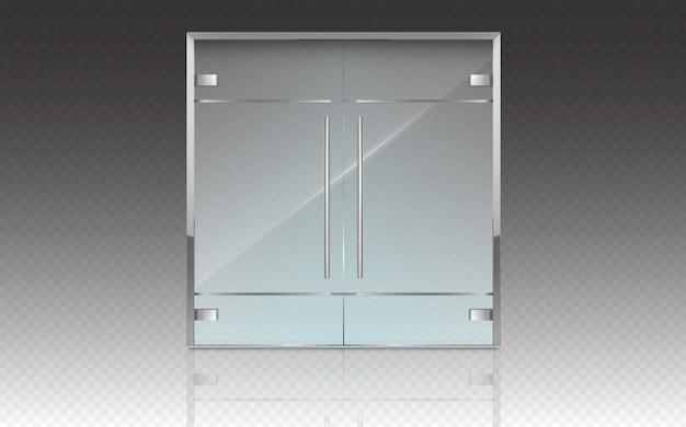Podwójne szklane drzwi z metalową ramą i uchwytami