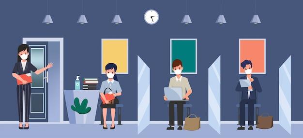 Podział między ludźmi na ochronę przed covid-19. zatrudnianie koncepcji nowego normalnego stylu życia. rozmowa kwalifikacyjna z biznesem.